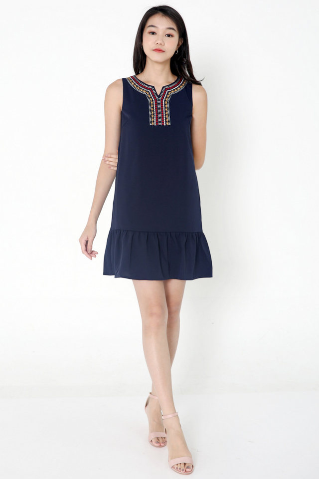 Ivey Embroidery Ruffle Hem Dress (Navy Blue)