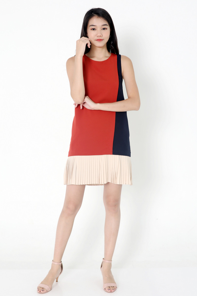 Chantelle Colourblock Pleat Dress (Terracota)