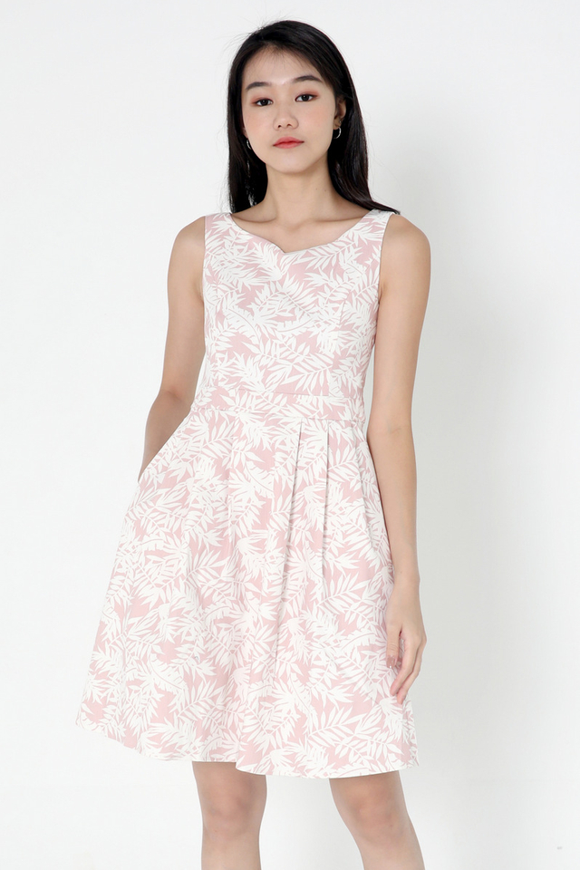 Delila Floral Fit and Flare Dress (Pink)