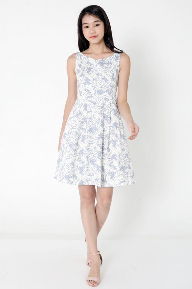 Delila Floral Fit and Flare Dress (Blue)