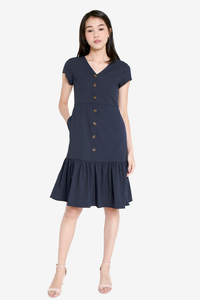 Elliott Button Flutter Hem Dress (Navy Blue)