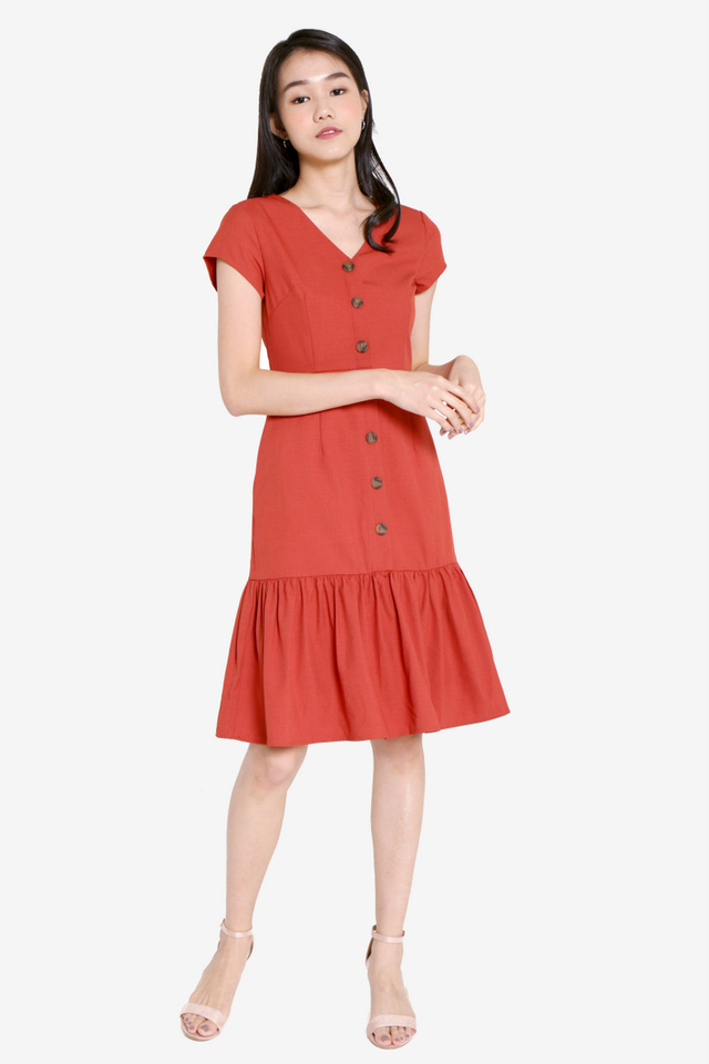 Elliott Button Flutter Hem Dress (Brick Red)