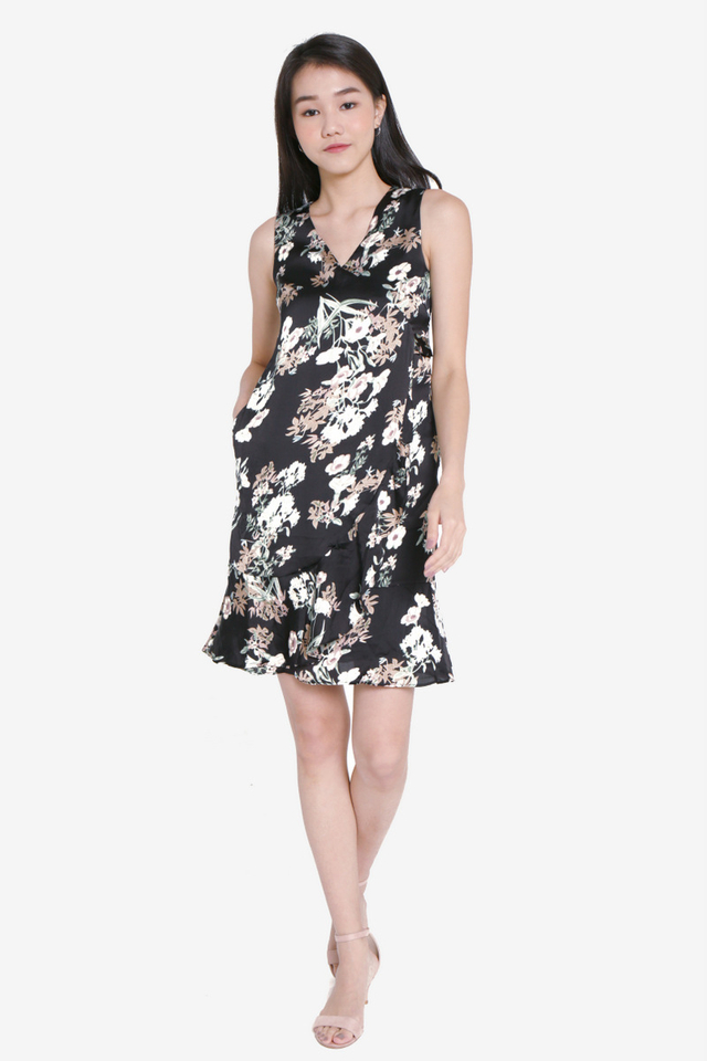 Ayres Floral Wrap Dress (Black)
