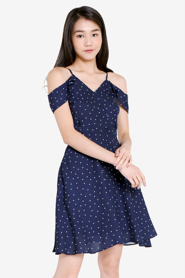 Madsen Polka Dot Dress (Navy Blue)