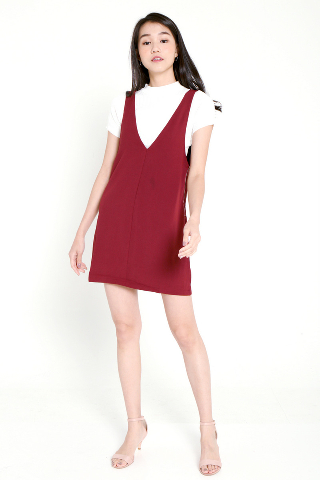 Evia V-neck Pinafore Dress Set (Wine)