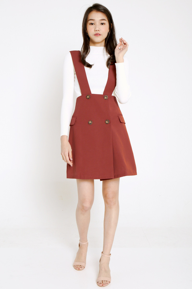 Stephie Button Pinafore Dress (Brick Red)