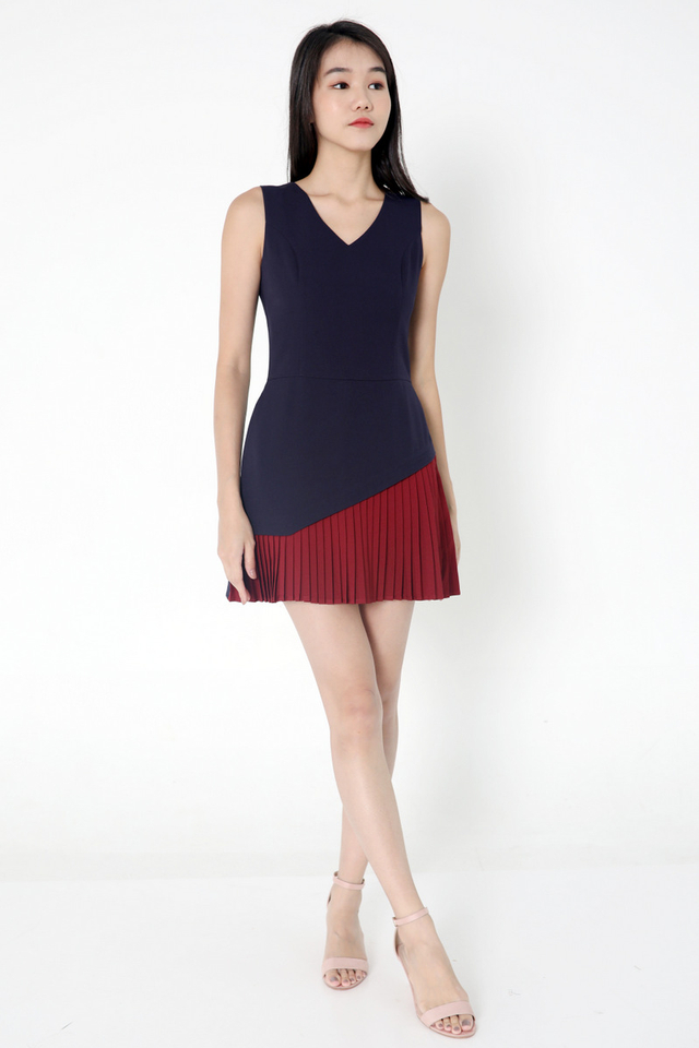 Durbin Pleated Romper (Navy Blue/Wine)