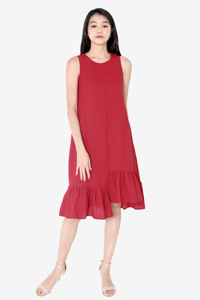 Bettye Ladder Midi Dress (Red)