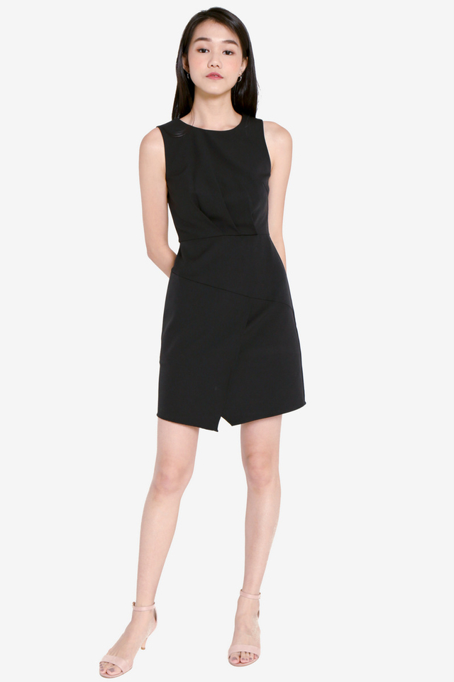 Melony Pleat Work Dress (Black)