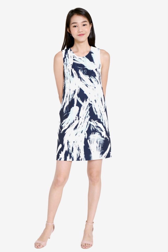 Ellena Abstract Shift Dress (Navy/Blue)