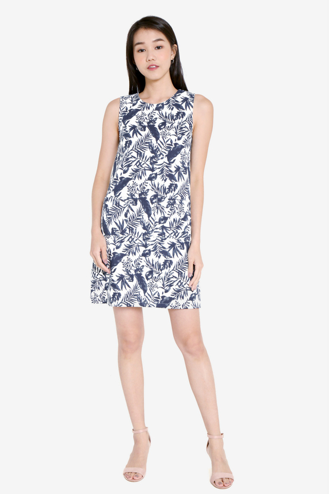 Celia Front Pocket Shift Floral Dress (Blue)