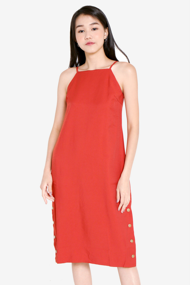 Carmelia Side Slit Midi Dress (Red)