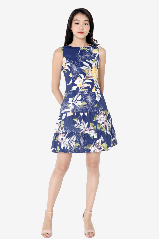 Jenise Floral Tier Dress (Blue)