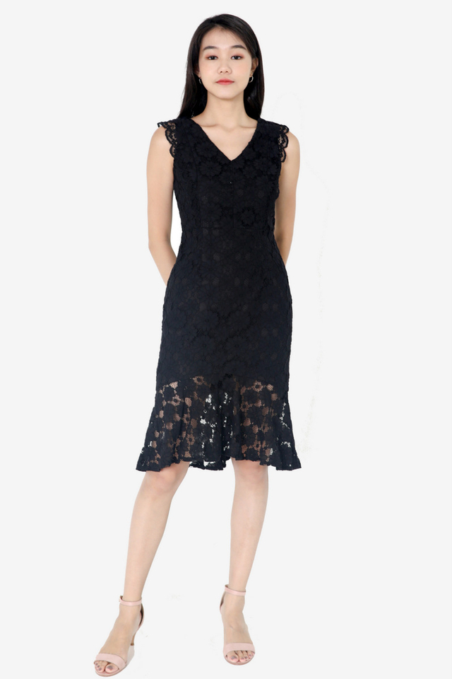 Florentine Lace Dress (Black)