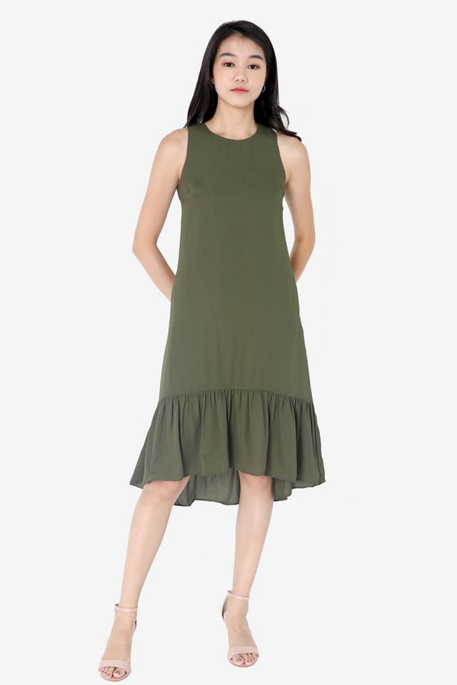Chavarria High Low Midi Dress (Green)
