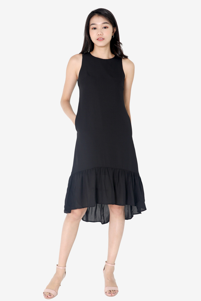 Chavarria High Low Midi Dress (Black)