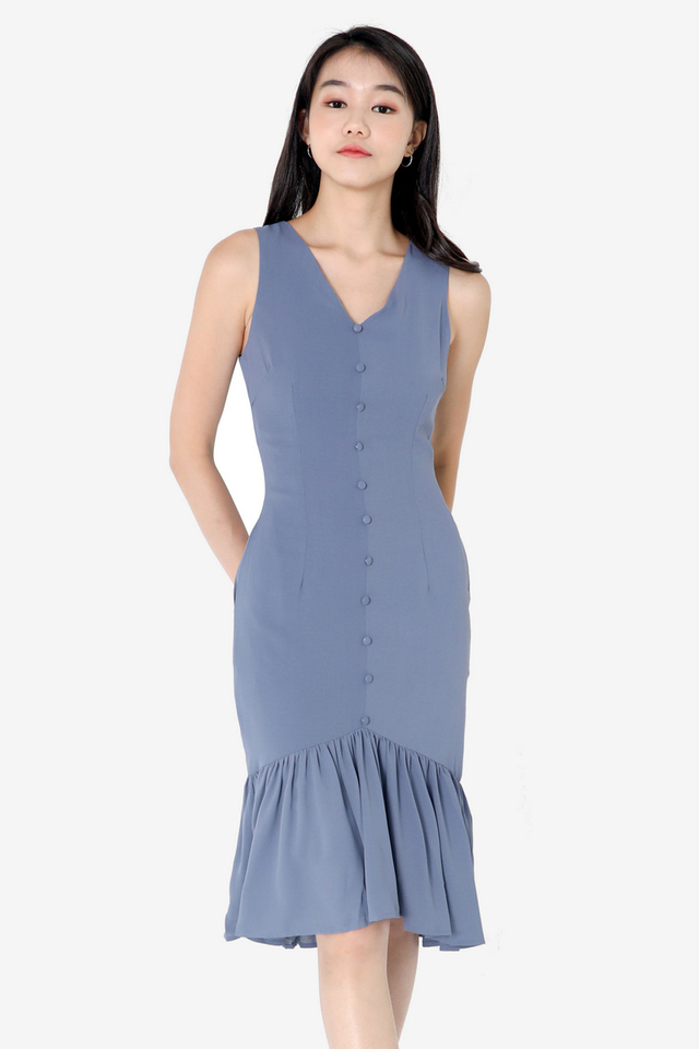 Rhona Button Down Dress (Blue)
