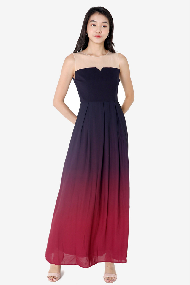 Janelle Mesh Maxi Dress (Wine)