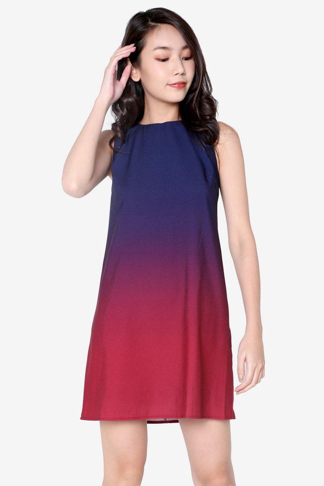 Carletta Ombre Dress (Navy Blue/Wine)