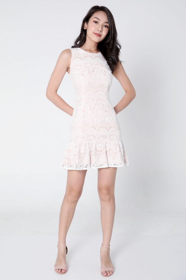 Iraida Lace Flutter Hem Dress (White)