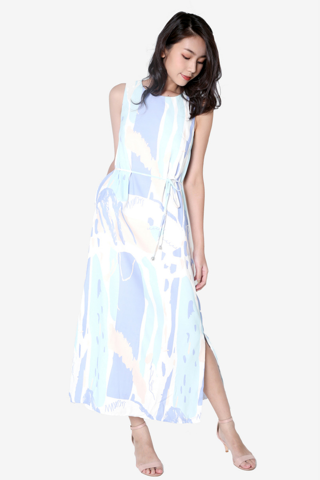 Carina Abstract Maxi Dress (Blue)