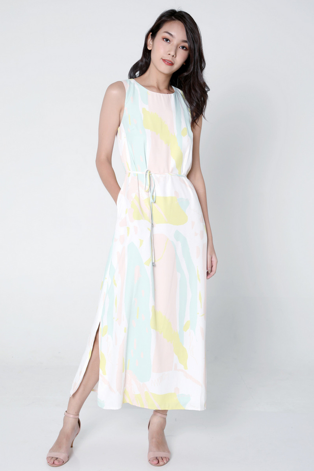 Carina Abstract Maxi Dress (Yellow)