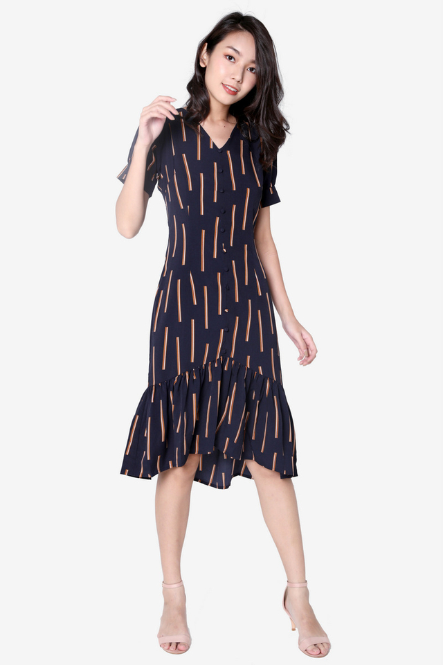 Mccallum Sleeved Midi Dress (Navy Blue)