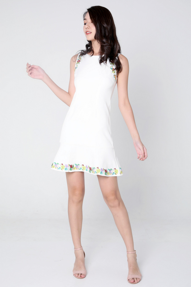 Bertie Embroidery Flutter Hem Dress (White)