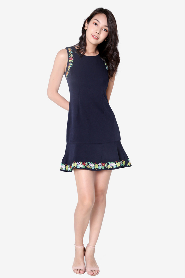 Bertie Embroidery Flutter Hem Dress (Navy Blue)