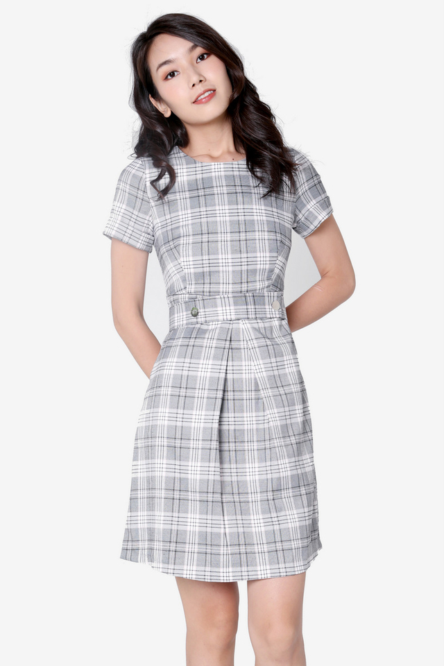 Darcy Plaids Belted Dress (Pink)