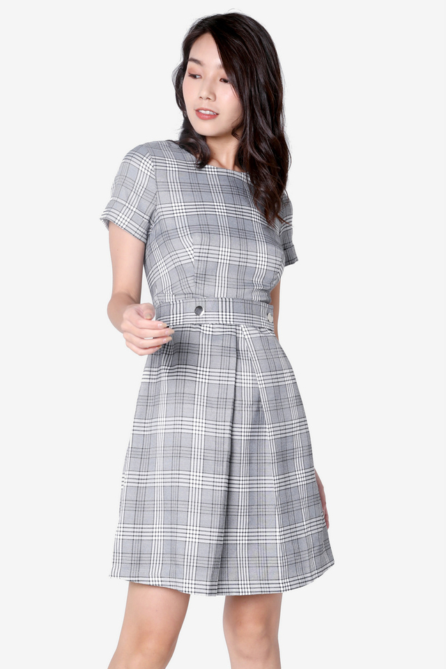 Darcy Plaids Belted Dress (Grey)