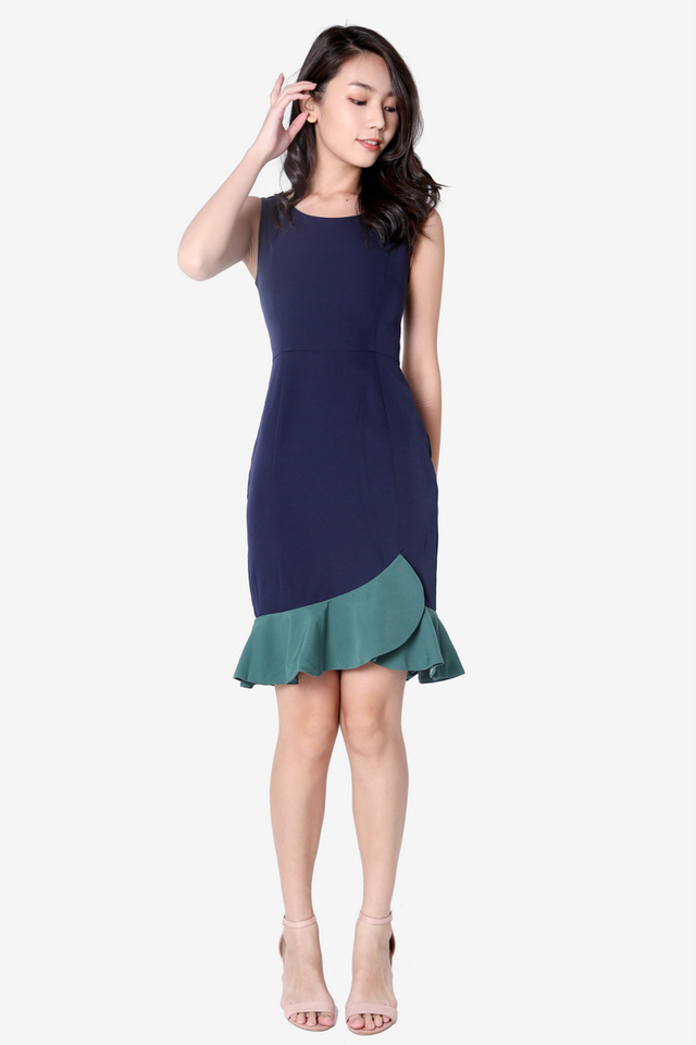 Janeth Colourblock Flutter Hem Dress (Navy Blue)