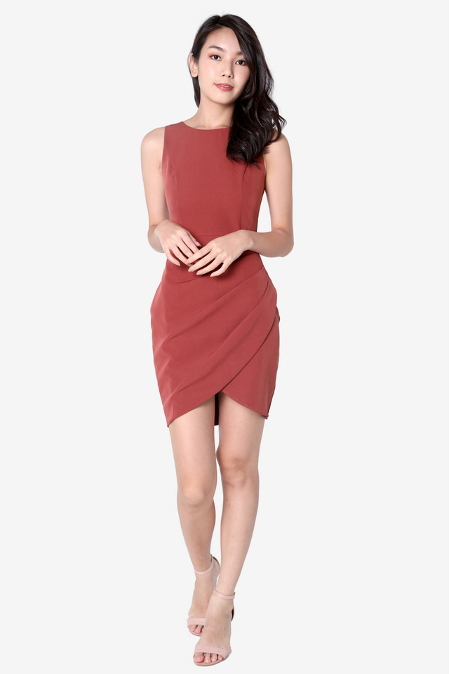 Renay Overlap Work Dress (Tea Rose)