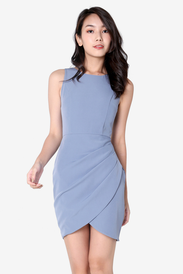 Renay Overlap Work Dress (Periwinkle Blue)