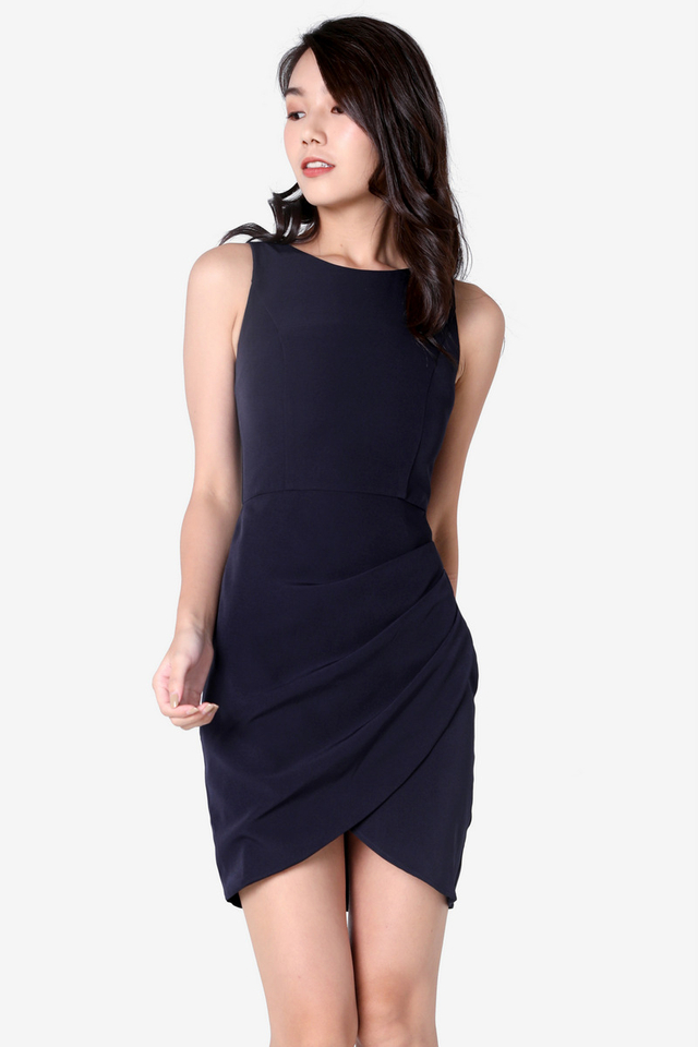 Renay Overlap Work Dress (Navy Blue)