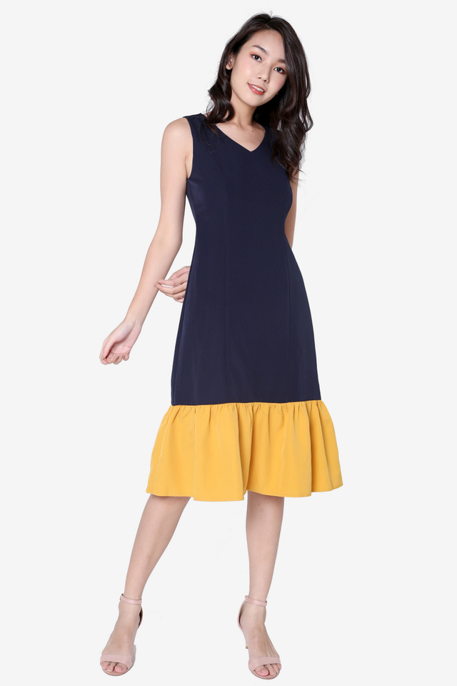 Isadora Colourblock Midi Dress (Mustard)