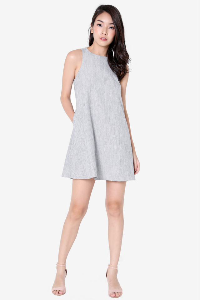 Darcie Pocket Trapeze Dress (Grey)
