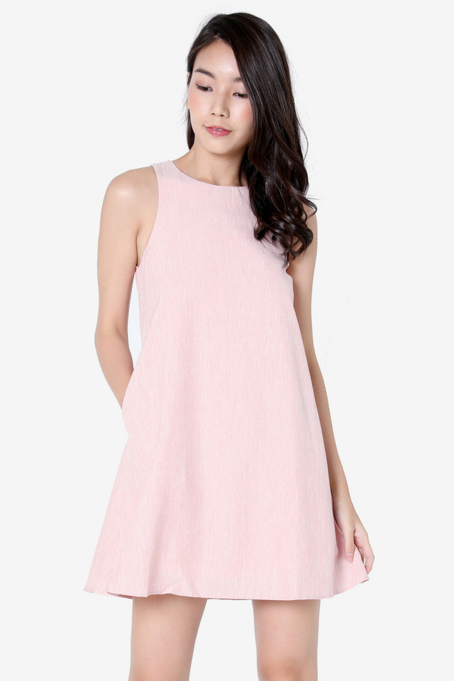Darcie Pocket Trapeze Dress (Pink)