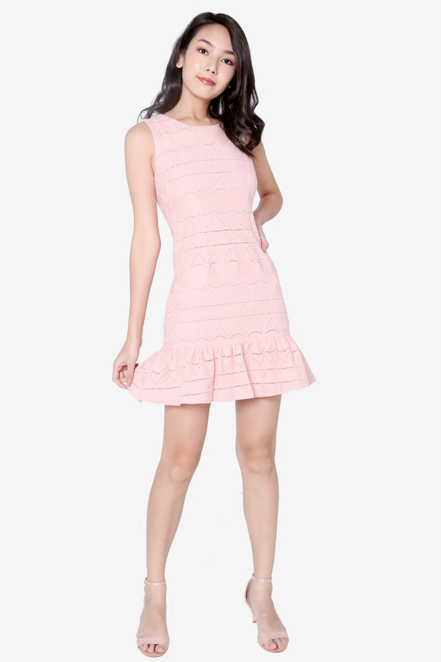 Willa Eyelet Flutter Hem Dress