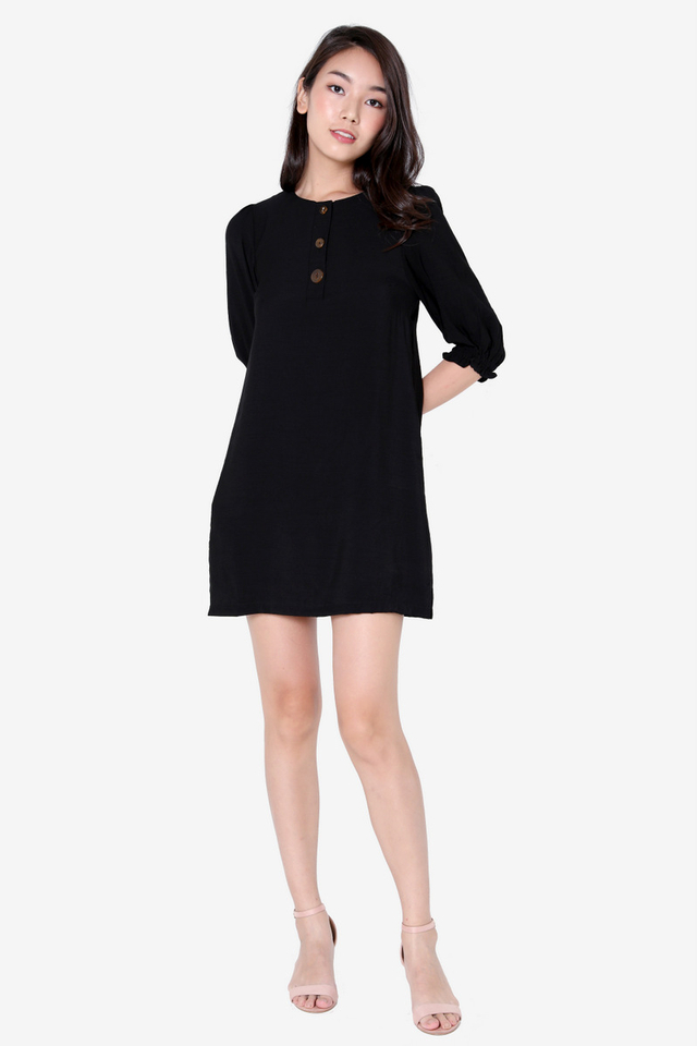 Tommie Pebble Button Dress (Black)
