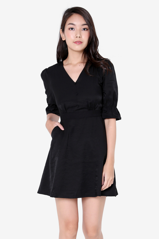 PO: Caryn Poofy Sleeved Dress (Black)
