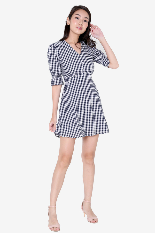 Caryn Poofy Sleeved Dress (Blue Checks)