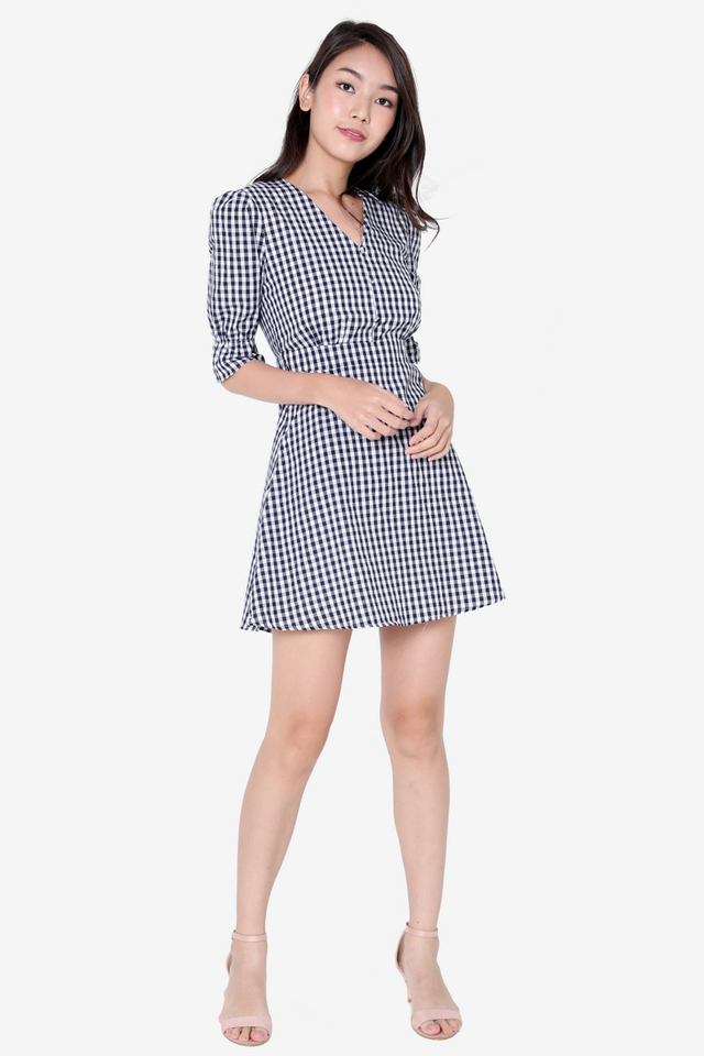 PO: Caryn Poofy Sleeved Dress (Blue Checks)