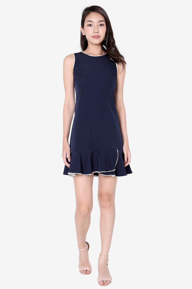 Sandi Piping Flutter Hem Dress (Navy Blue)