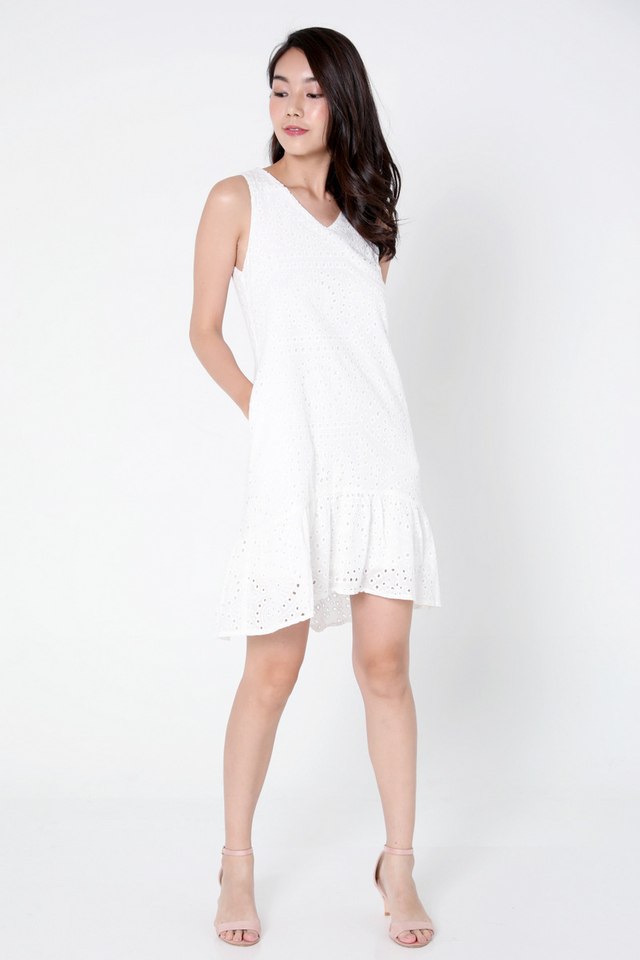 Dina High Low Eyelet Dress (White)