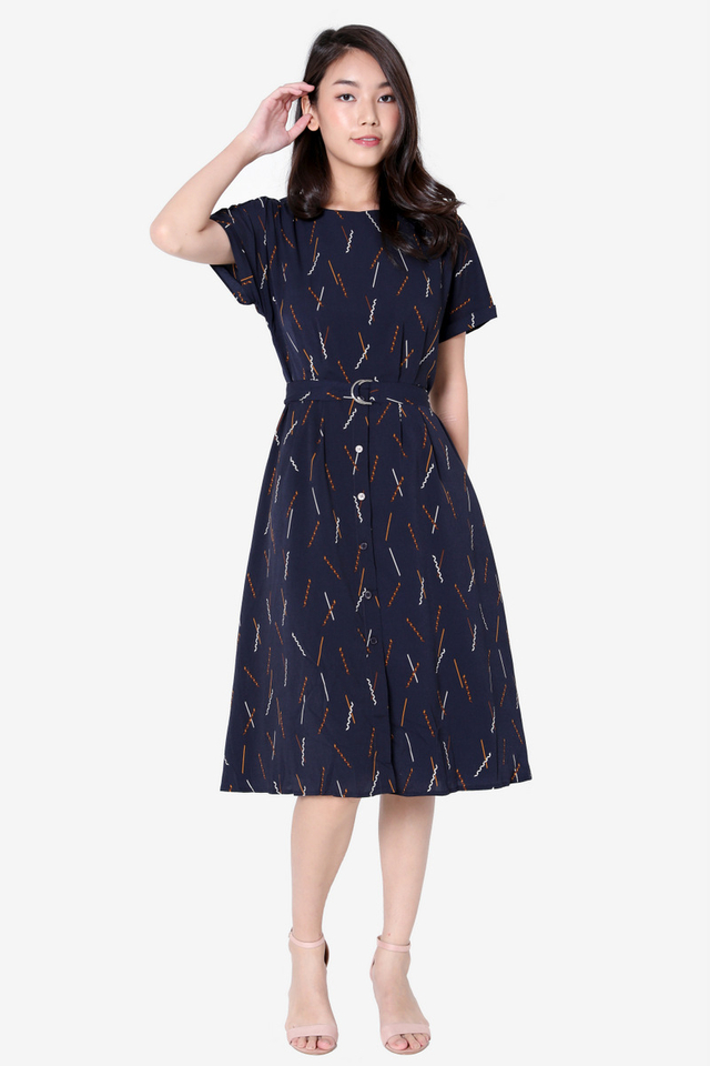 Marti Abstract Sleeved Dress (Navy)