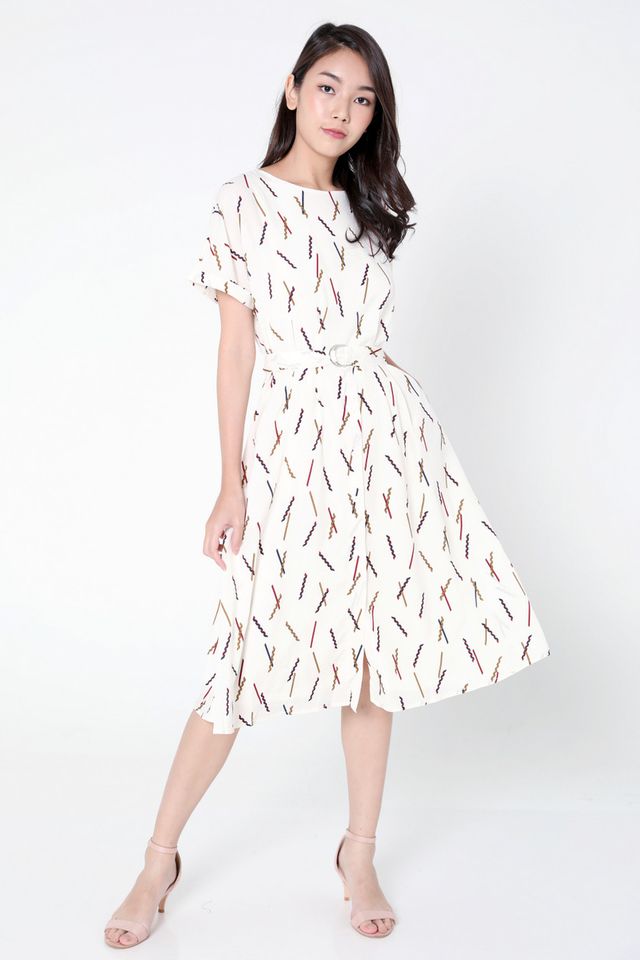 Marti Abstract Sleeved Dress (Beige)