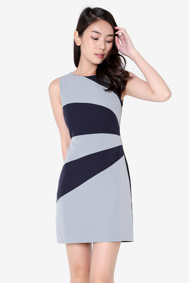 Jaynes Colourblock Work Dress (Blue)