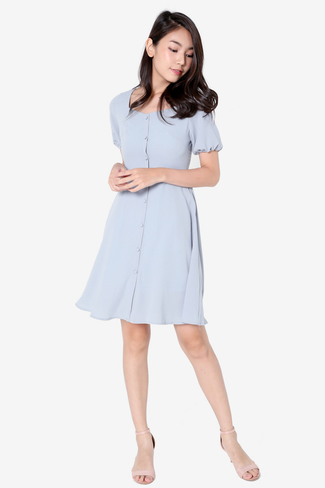 Lolita  Sleeved Skater Dress (Blue)