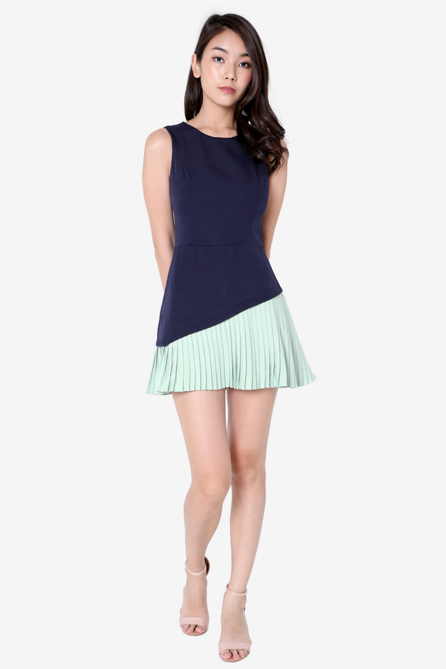 Durbin Pleated Romper (Mint)